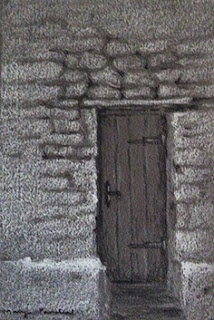 Charcoal and white pastel pencil sketching of a door on Canson Mi Teintes paper by Manju Panchal
