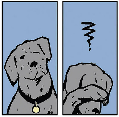 two panels from a comic, the first is a drawing of a dog looking up; the second is of the same dog looking down with his paw covering his eyes