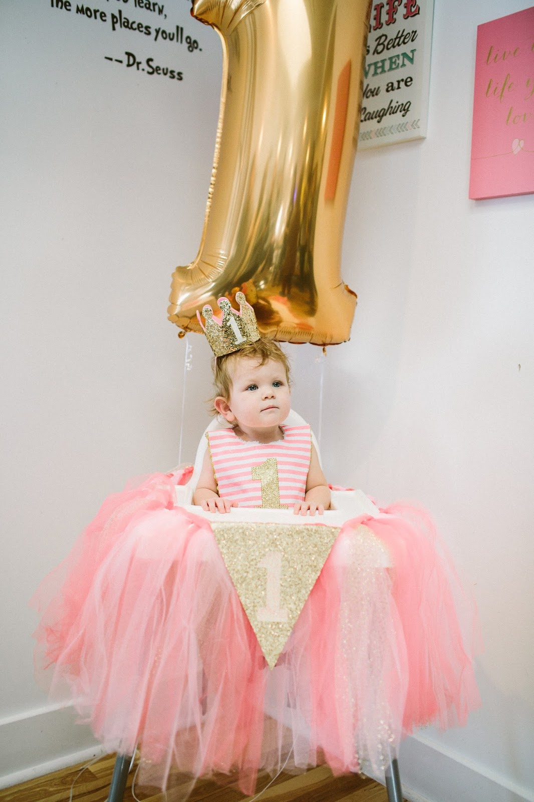 1st Birthday Party, Gold Balloon, High Chair Skirt
