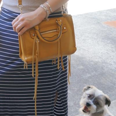 Cooper smiling Shih Tzu Rebecca Minkoff micro Regan satchel in Harvest Gold | AwayFromTheBlue