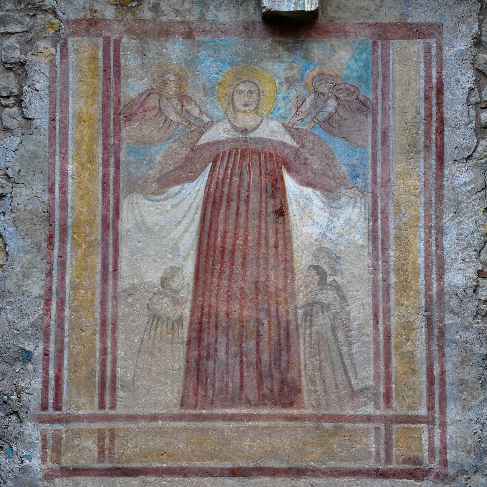 Mural preserved on the wall of Soave Castle, Soave, Veneto, Italy