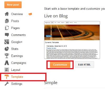 Setup the Blogger template