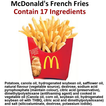 McDonald's Transparency Campaign Revealed 17 Ingredients in Their French Fries - McDonald's French Fries Contain 17 Ingredients