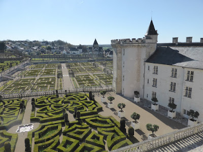 elevated view of the gardens at Chateau de Villandry in the Loire Valley