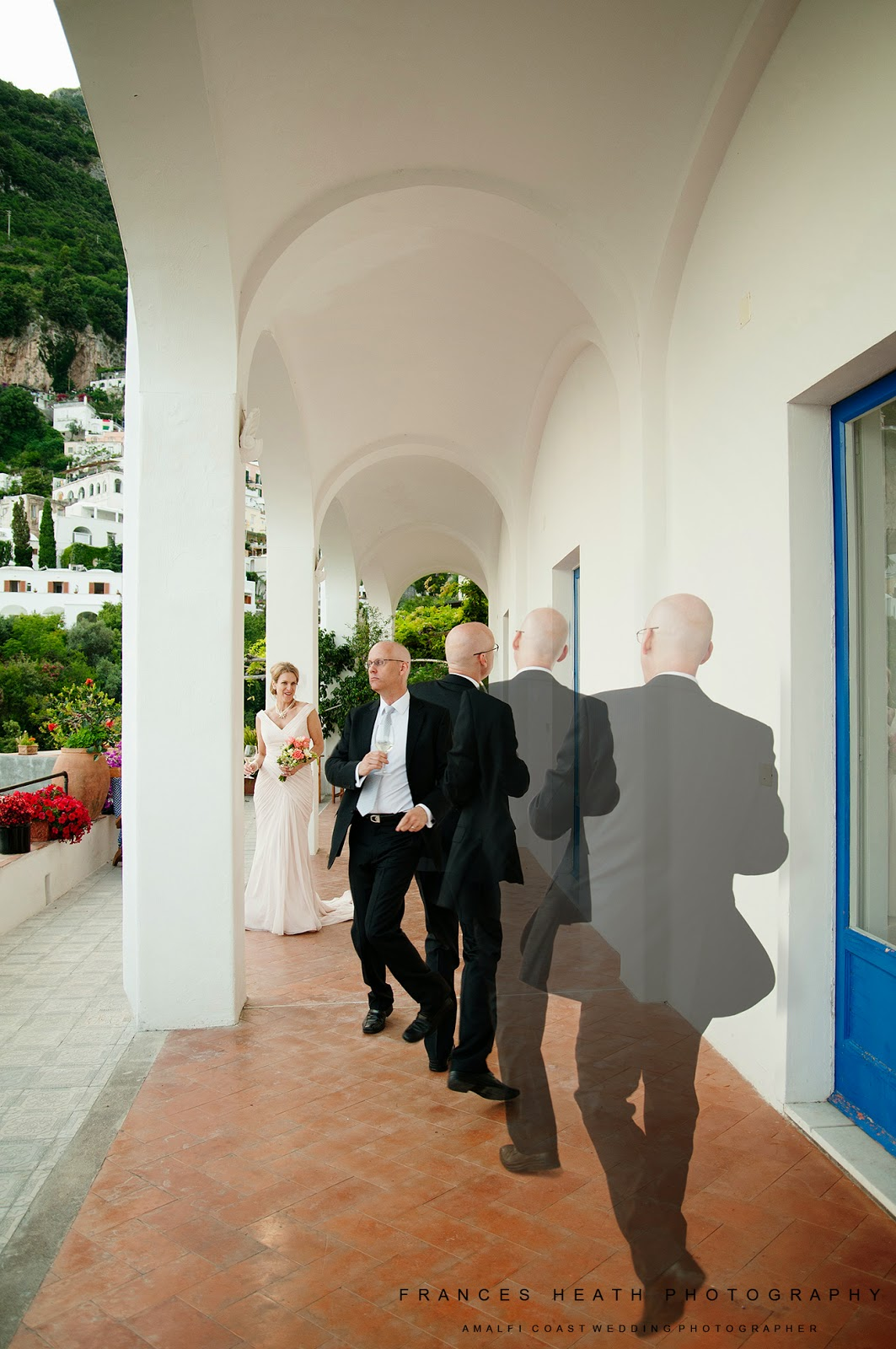 Bride and groom portrait in Positano