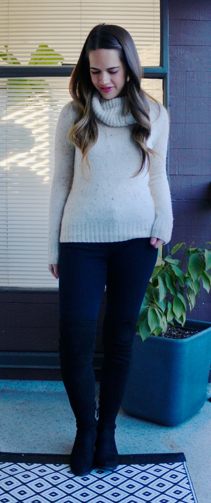Jules in Flats - Creamy Turtleneck with OTK Boots for Work