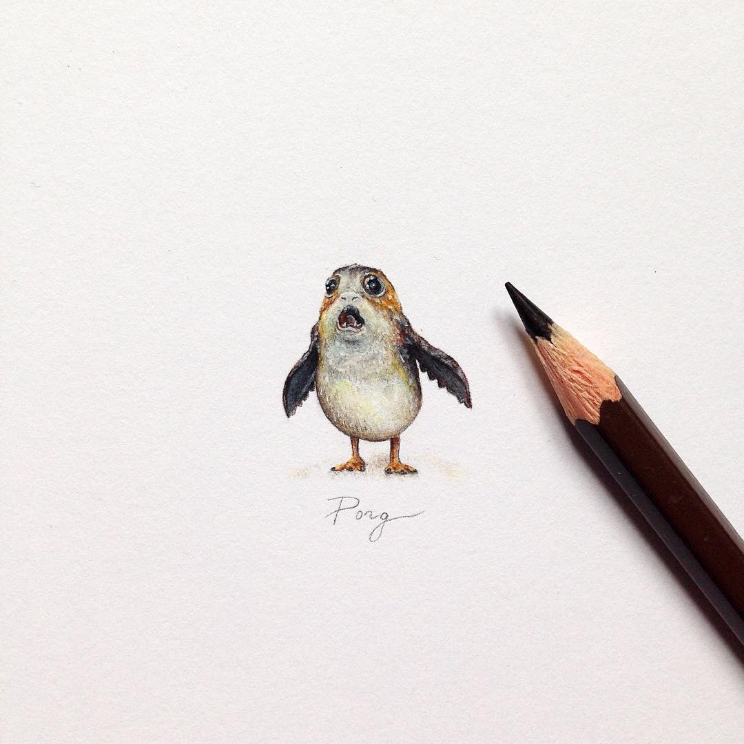 08-The-Porg-from-Star-Wars-The-Last-Jedi-Claudia-Maccechini-Miniature-Tiny-Drawings-www-designstack-co