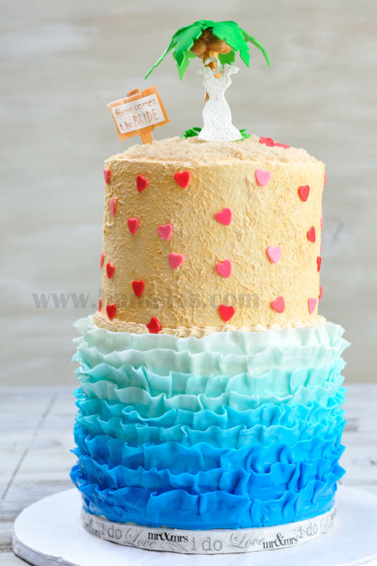 Haniela S Ruffle Beach Bridal Shower Cake With A Palm Tree