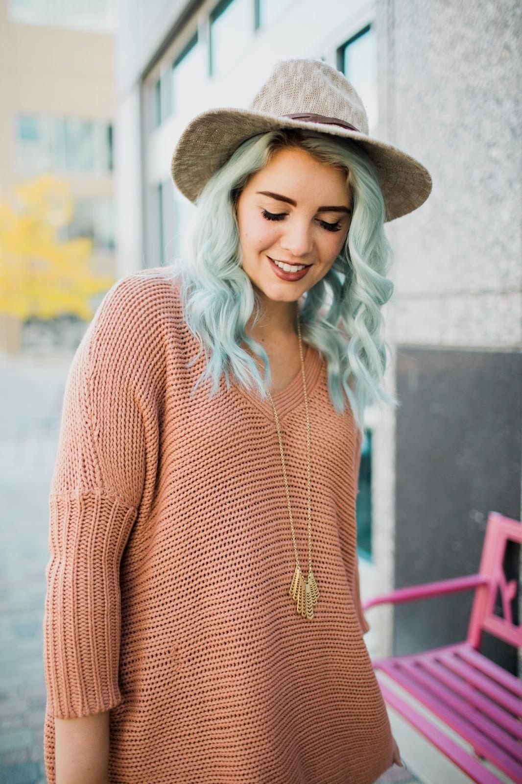 Blush Sweater, Utah Fashion Blogger, LipSense