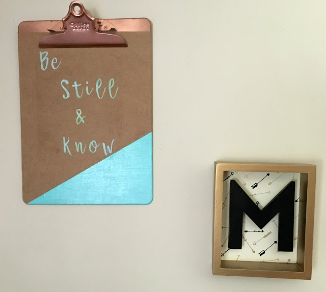 Re-purpose a clipboard into wall art, using paint and Cricut pattered iron-on vinyl.