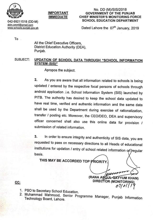 UPDATION OF SCHOOL DATA ONLINE THROUGH SCHOOL INFORMATION SYSTEM (SIS)