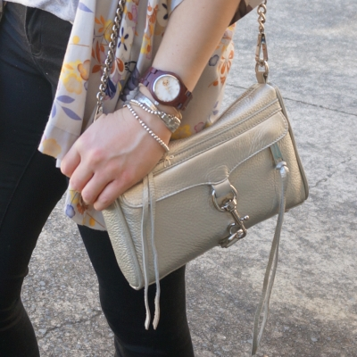 JORD Cora purpleheart and mother of pearl watch, Rebecca Minkoff metallic silver Mini MAC | AwayFromTheBlue