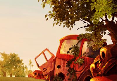 Una furgoneta abandonada y oxidada junto a otros coches y varios árboles.