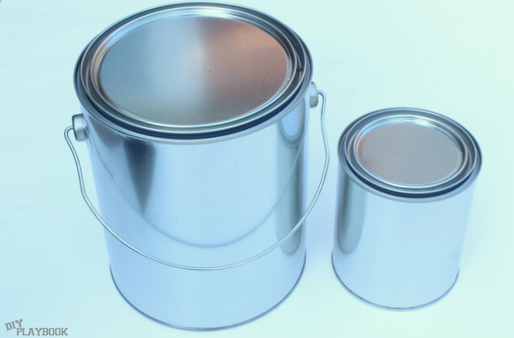 Start your paint can planter with blank paint cans.