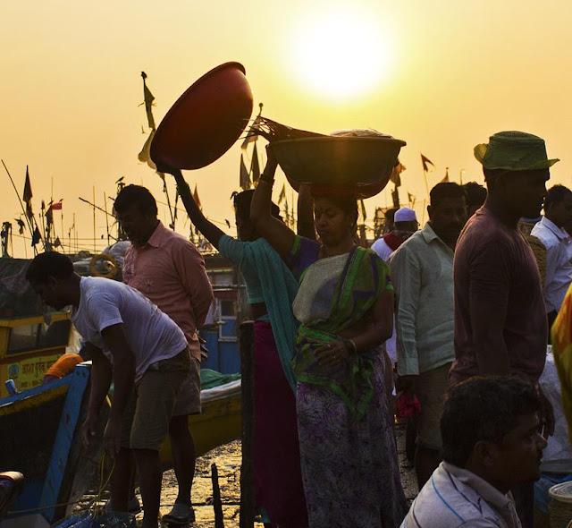 fisherfolk, sassoon docks, dawn, activity, fish market, mumbai, india,