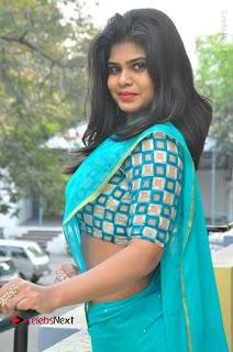 Telugu Actress Alekhya Stills in Green Saree at Swachh Hyderabad Cricket Press Meet  0032.JPG