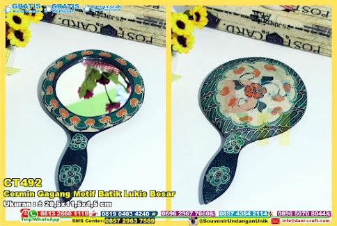Cermin Gagang Motif Batik Lukis Besar