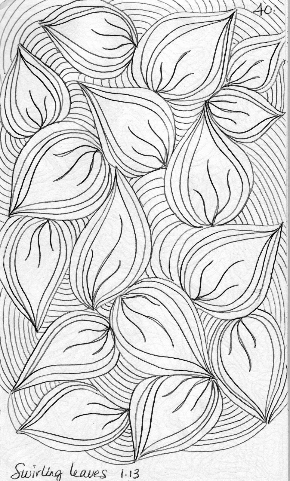 luann kessi quilting sketch book swirling leaves