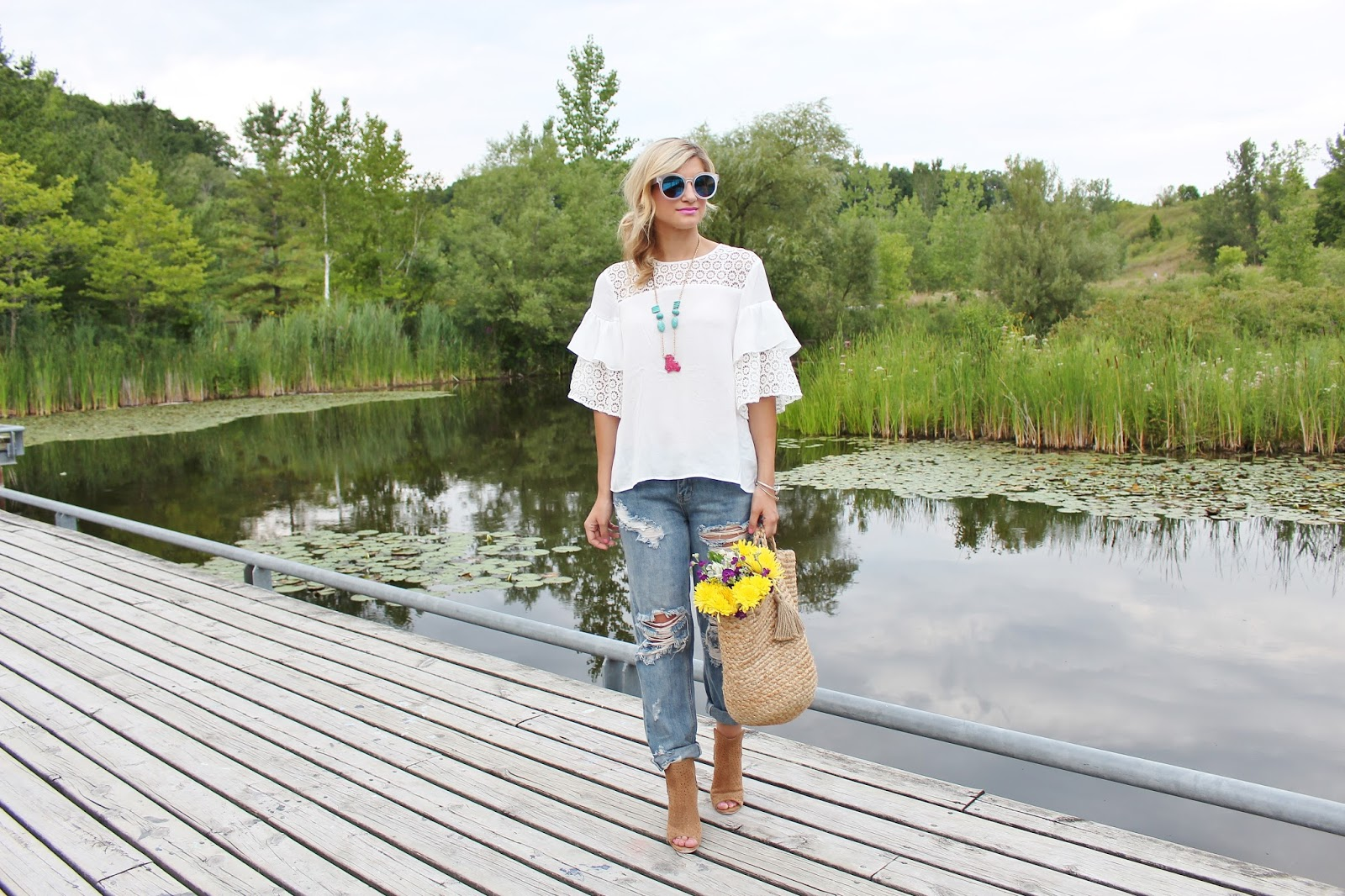 bijuleni - ripped jeans,white top,booties
