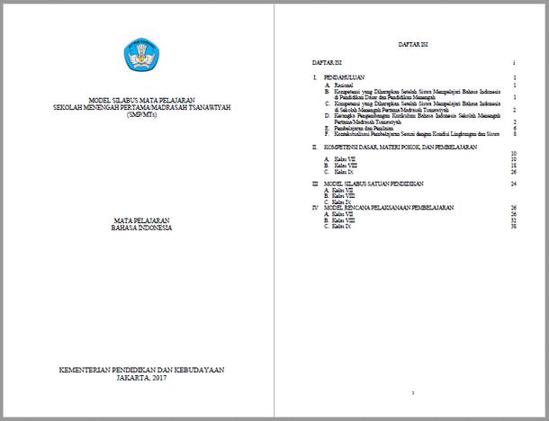Silabus RPP Bahasa Indonesia SMP MTs Kurikulum 2013 Kelas VII, VIII, IX
