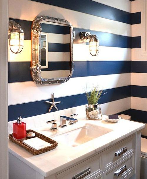 Horizontal Stripes in Bathroom