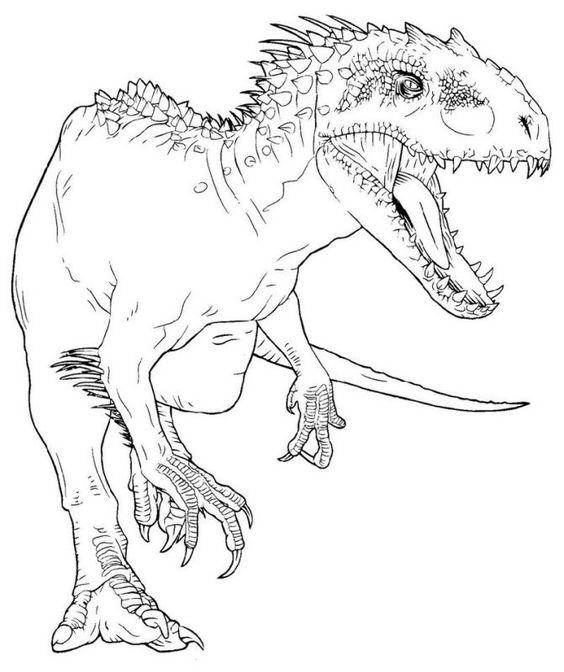 Tranh tô màu khủng long ăn thịt đang săn mồi