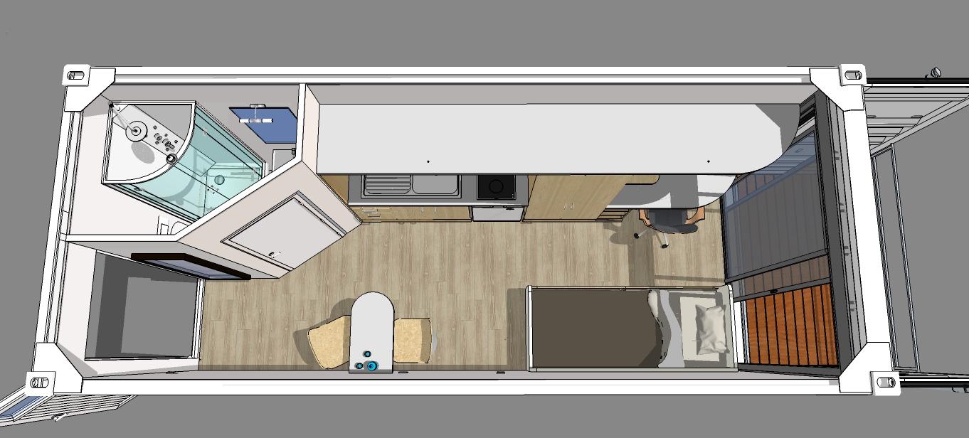 Amenagement Conteneur container aménagé studio + terrasse bois. | aménagements extérieurs