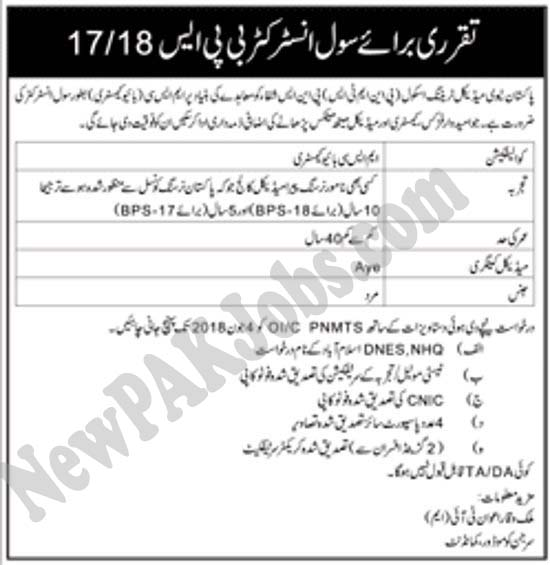 Jobs in Pakistan Navy for Civil Instructor May 2018