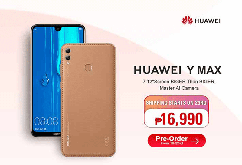Huawei Y Max spotted at Lazada Philippines with a PHP 16,990 price tag