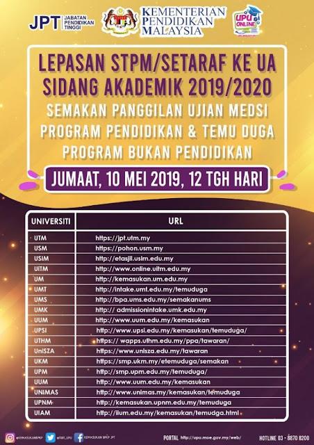 Semakan Ujian MEdSI 2019 / 2020 Universiti Awam lepasan STPM