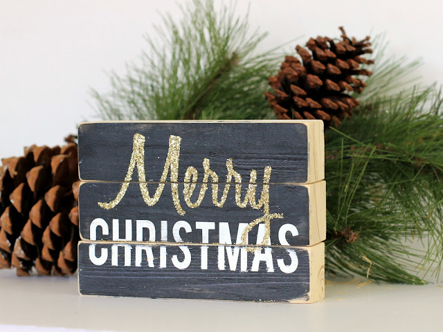 Four sided Wood block sign, Merry Christmas by CleverNestShop on Etsy #rusticwoodsign #woodblocksign #blockdeskdecoration