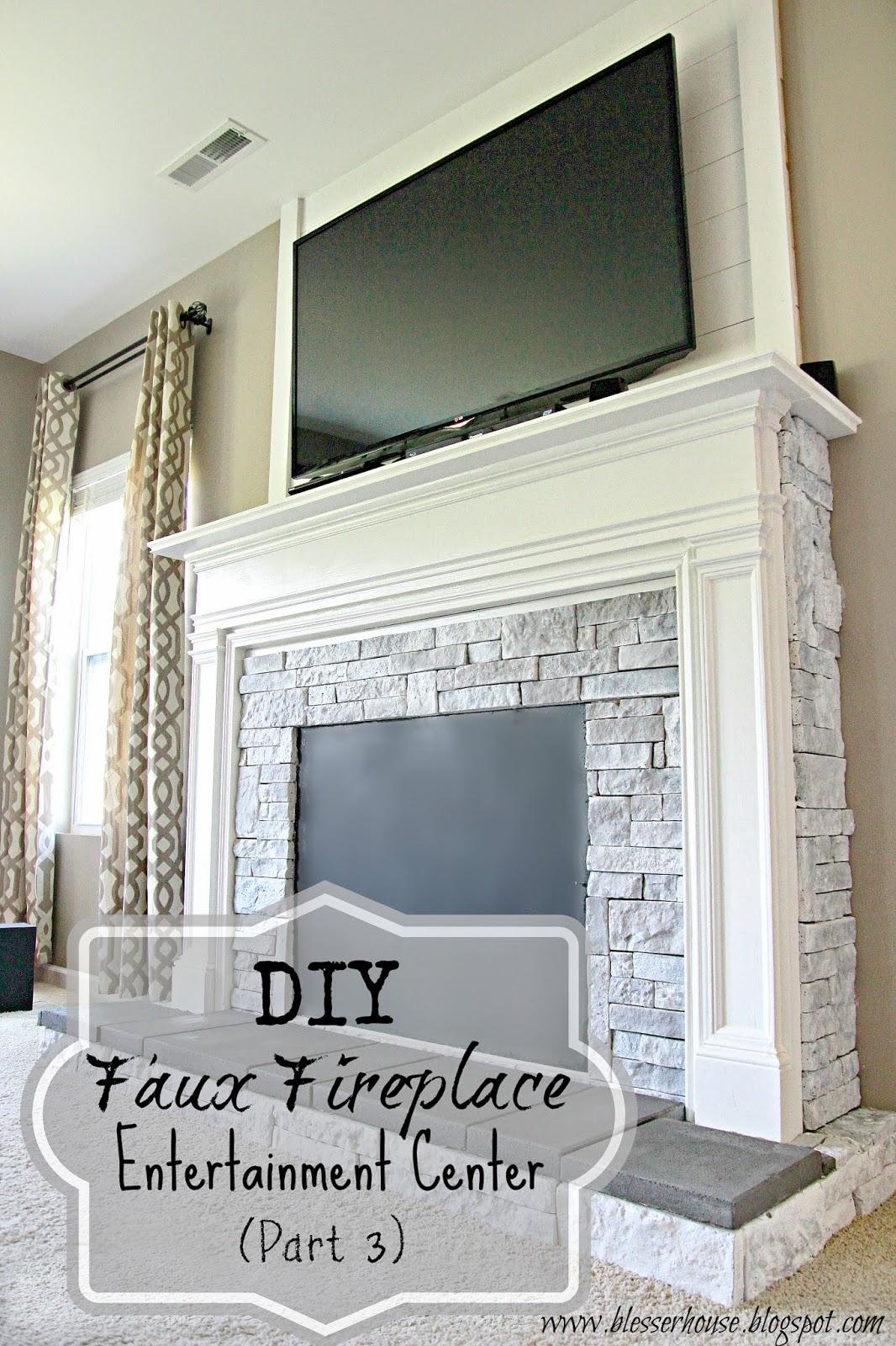 DIY Faux Fireplace Entertainment Center Part 3 - Bless'er ...