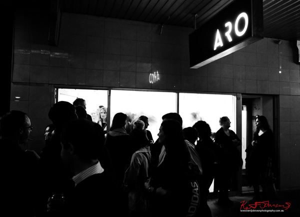 ARO Gallery opening night - street view - Street Fashion Sydney photographed by Kent Johnson.