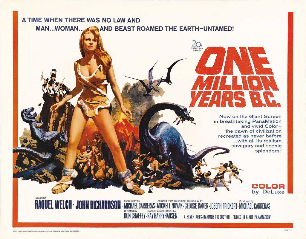 One Million Years B.C. is a 1966 British adventure/fantasy film starring  Raquel Welch and John Richardson, set in a fictional age of cavemen and  dinosaurs.