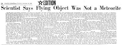 Scientist Says Flying Object Was Not A Meteorite - Amarillo Globe-Times 12-16-1965
