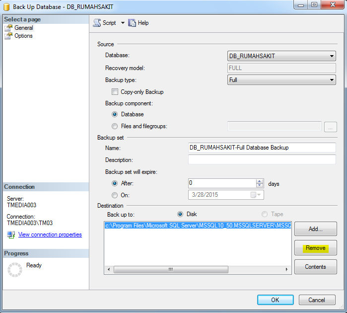 Backup Database SQL Server 2008