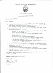 ASUU declares one week warning strike nation wide