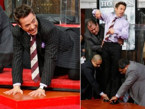 Robert Downey Jr. deixou suas mãos e pés na calçada da Fama