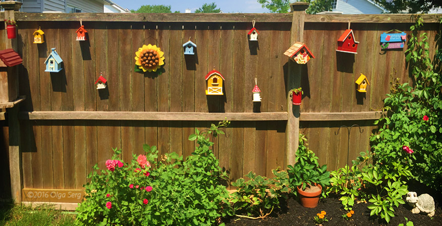 Life flowers and fruits decorating backyard fence with for Decorating your backyard fence