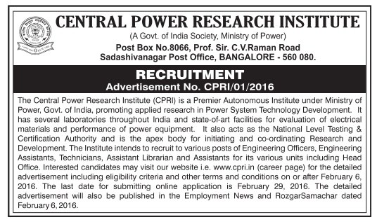 CENTRAL POWER RESEARCH INSTITUTION, RECRUITMENT NEWS