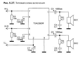 دارة مكبر صوت باستخدام tda2822m