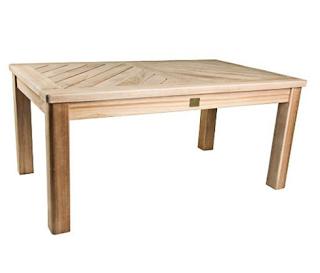 Rectangular Solid Teak Coffee Table w Slat Top - Bristol