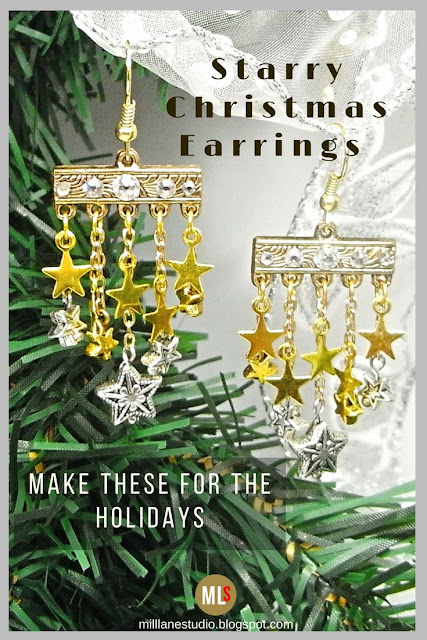 A starry pair of earrings featuring silver and gold stars