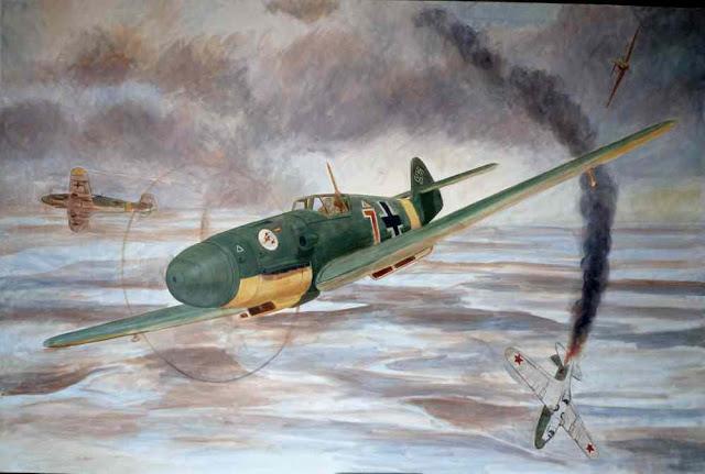 Pintura al oleo Bf-109 Escuadrilla Azul