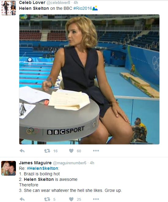 Outrage on social media as BBC presenter Helen Skelton wears tiny skirt on live TV