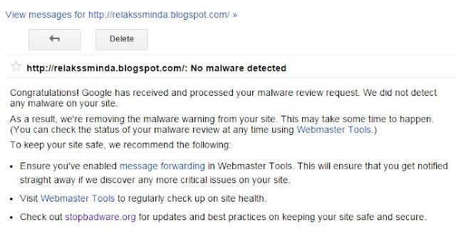 Tindakan Apabila Blog Terkena Malware