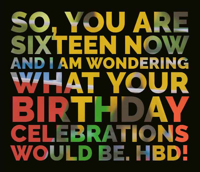 So, you are sixteen now and I am wondering what your birthday celebrations would be. HBD!