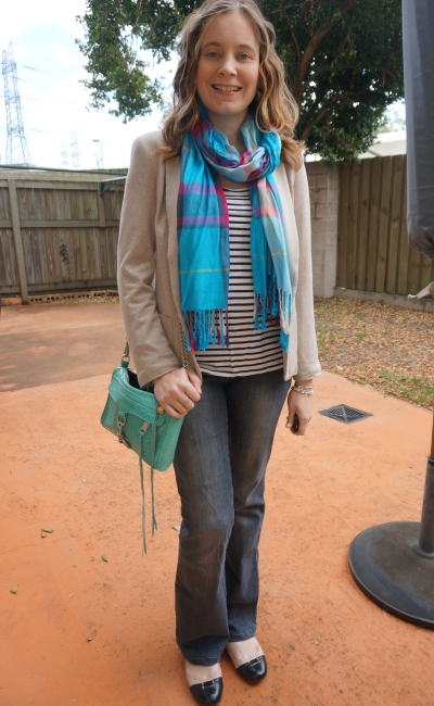 Blazer blue scarf mini MAC flared jeans and ballet flats