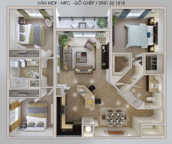 mẫu thiết kế căn hộ 3pn