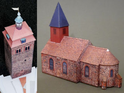 Architecture Papercraft German Tower and Church